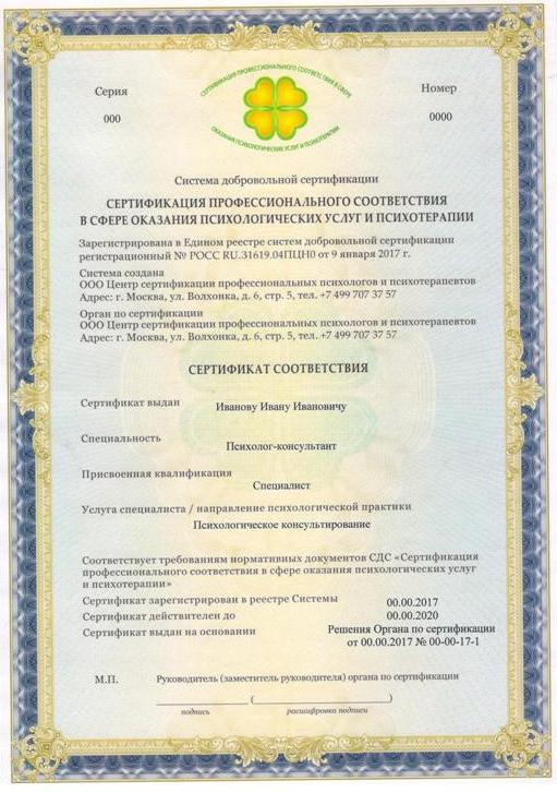 Сертификация психолога сертификация управление многоквартирным домом